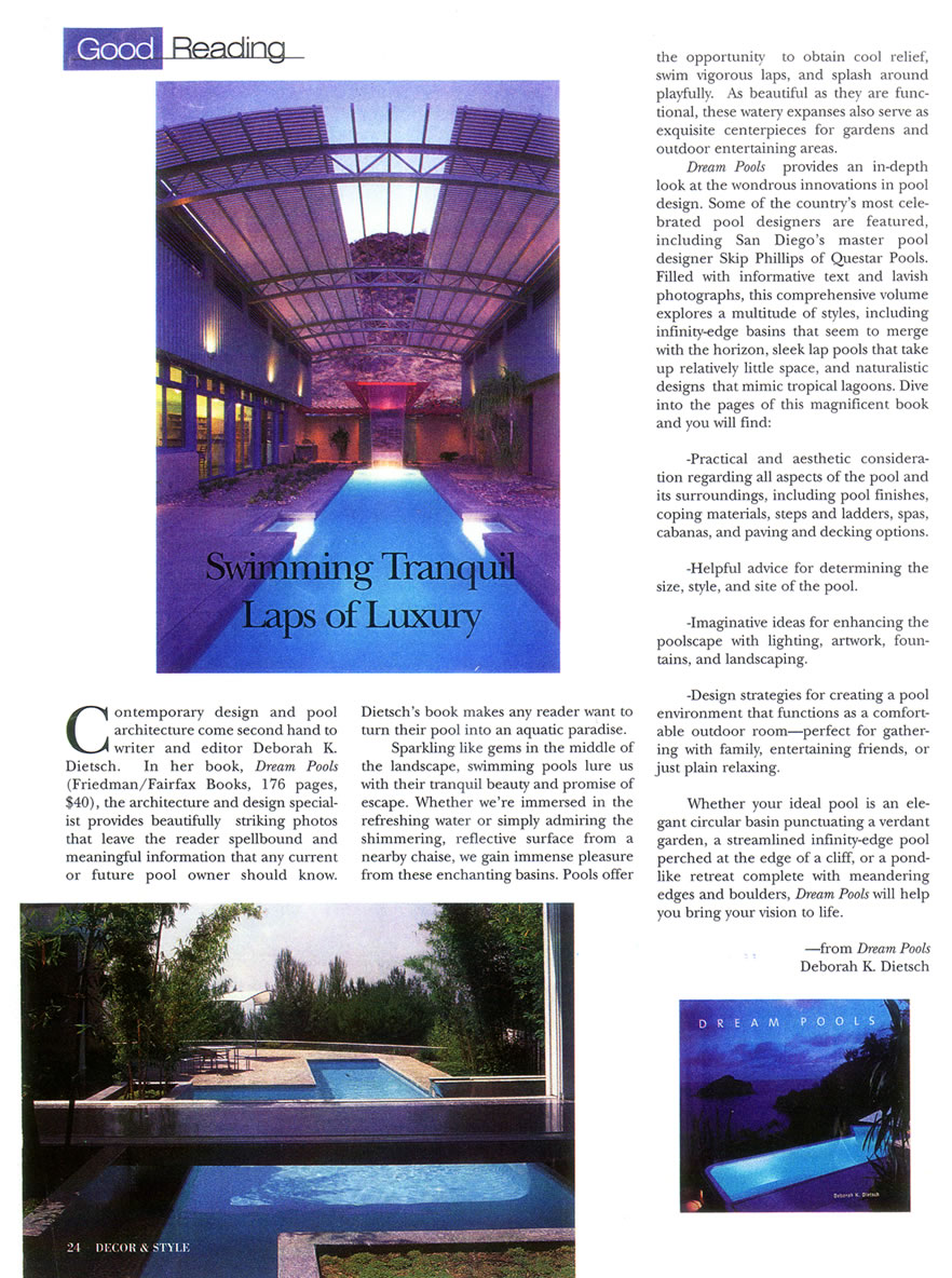 Decor and Style - Swimming Tranquil, Laps Of Luxury